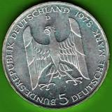 Germania - 5 Deutsche Mark marci 1978 argint 11, 2 grame, comemorativa, 100 de ani de la nasterea lui Gustav Stresemann