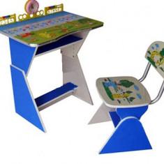 Masuta/scaun copii - Birou copii cu scaunel, reglabile (Albastru si roz)
