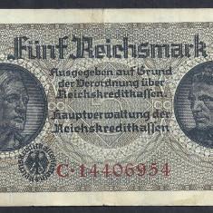 GERMANIA NAZISTA 5 MARK MARCI 1939 1940 1945 P-R138b, cu Zvastica, WWII [9] VF++