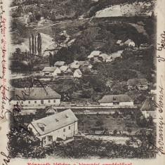 Romania, Maramures, Costiui, Ronaszek, carte postala circulata 1902: Panorama - Carte Postala Maramures pana la 1904, Fotografie