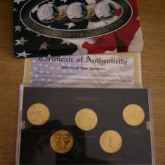 Monede Straine - MSS - SET MONEDE AMERICA - PLACATE CU AUR DE 24 DE CARATE - CHILIPIR!!!!