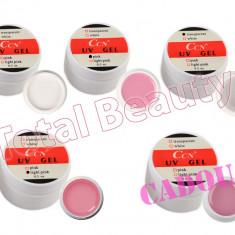 Gel unghii - Set 4 x Geluri UV CCN 15 gr + CADOU 1 x Gel UV CCN Cover unghii false