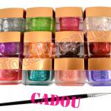 Set 12 geluri UV Color cu Sclipici EzFlow, gel UV Color Sclipici EzFlow + CADOU - Gel unghii