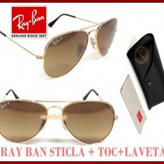 Ochelari de soare Ray Ban, Unisex, Maro, Pilot, Metal, Protectie UV 100% - Ochelari Soare RAY BAN Aviator LENTILA STICLA