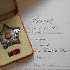 Ordinul Steaua RSR cls.V argint cu marcaje, in etui, cu brevet