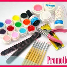 Kit unghii false cu gel UV de constructie 12 geluri UV colorate pensule unghii