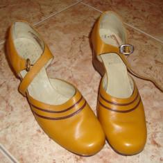 Pantofi dama, Piele naturala - Pantofi galbeni, 39