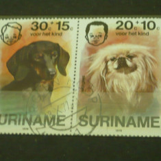 Timbre straine - SURINAM 1976 – CAINI TECHEL SI PECHINEZ, timbre stampilate A49