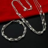Set bijuterii argint 925: bratara (lungime reglabila) + colier (46 cm lungime)