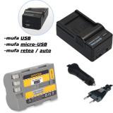 PATONA | Incarcator 4in1 USB + Acumulator pt Nikon EN EL3e ENEL3e ENEL3 EN EL3 - Baterie Aparat foto