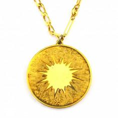 Lant pandant argint placat aur 24 k, vermeile, gravat versuri dragoste, Suedia - Colier argint