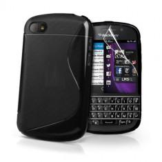 Husa BlackBerry Q10 Silicon Gel Tpu S-Line Neagra + Folie Ecran Inclusa - Husa Telefon