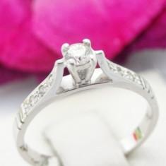 Inel aur alb 14k, diamante, 2.43 grame