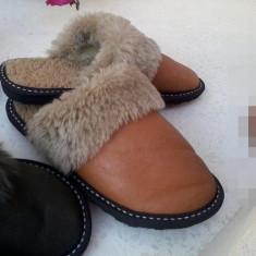 Papuci de casă din blană naturală ovină - Papuci dama, Marime: 39, Culoare: Maro