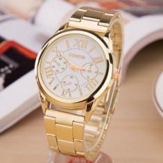 Ceas de Dama Geneva, Inox, Inox, Casual, Analog, Nou - Ceas Dama Luxury GENEVA - Curea Metalica, Quartz, Analog, Auriu