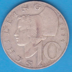 (1) MONEDA DIN ARGINT AUSTRIA - 10 SCHILLING 1959, 7, 5 GRAME, Europa