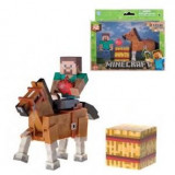 Figurina Minecraft Action Steve & Chestnut Horse 8 cm
