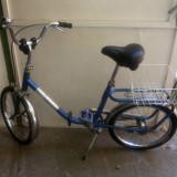 Bicicleta pliabile, 21 inch, 20 inch, Numar viteze: 1, Albastru, Curbat(Risebar) - Bicicleta pliabila pentru camping