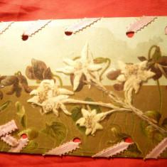 Ilustrata cu Flori desenate si Flori de Colt presate, sub folie cu panglica - Carte Postala Transilvania pana la 1904, Circulata, Printata