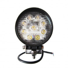 Proiector LED Auto Offroad 27W12V-24V, 1980 Lumeni Rotund - Proiectoare tuning, Universal
