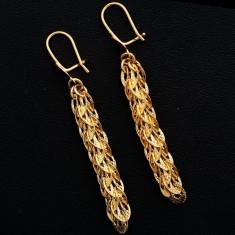 Cercei placati cu aur - Superbi cercei 9k GOLD FILLED - Lungi