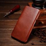 Husa piele naturala iCARER Vintage, SAMSUNG S6 EDGE PLUS, flip lateral, MARO