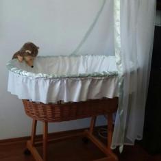 Cos bebelusi - Patut cos rachita bebe cu baldachin si saltea inclusa
