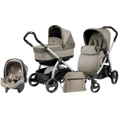 Carucior 3 in 1 Book Plus Black Silver POP-UP Cream - Carucior copii 2 in 1 Peg Perego