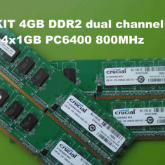 Memorie RAM PC DDR2 4GB KIT PC6400 800MHz Crucial - Micron Technology, Dual channel