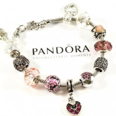 Bratara din argint - Bratara PANDORA cu 12 talismane diferite cristal si pandantiv inima