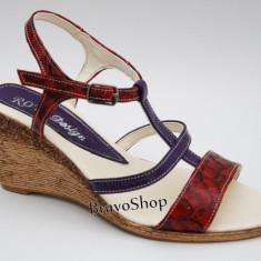 Sandale dama cu platforma din piele naturala Rosu cu Mov - Made in Romania