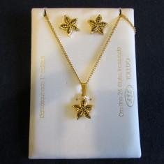 Set cercei, lantisor, pandantiv placate cu aur 24k - Damascene / Damasquinado - Set bijuterii placate cu aur