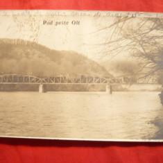 Carte Postala, Circulata, Printata - Ilustrata Calimanesti- Podul peste Olt, circulat 1914 -Colectia T.R.Popescu