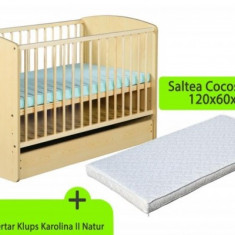 Patut lemn pentru bebelusi - Patut cu sertar Karolina II cu Saltea 8 120 x 60 cm MyKids Natur Klups