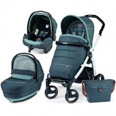 Carucior copii 2 in 1 Peg Perego - Carucior 3 in 1 Book Plus S Black White Completo SL Blue Denim