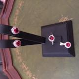 SET ARGINT PIATRA ROSIE -3 PIESE - Set bijuterii argint