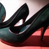 Pantofi dama - Pantofi 38 verde cu negru