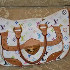 Vand geanta Louis Vuitton - Geanta Dama Louis Vuitton, Culoare: Alb, Marime: Medie, Geanta umar manere scurte, Asemanator piele