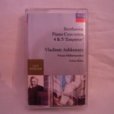 Vand caseta audio Beethoven-Piano Concertos 4&5-Vladimir Ashkenazy, originala, raritate! - Muzica Clasica decca classics, Casete audio