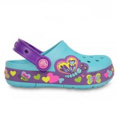 Saboti Crocs Crocband Light Butterfly clog (CRC15685 ) - Papuci copii Crocs, Marime: 25.5, Culoare: Albastru