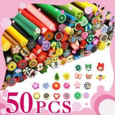 Batoane fimo pentru unghii, set de 50 batonase Nail Art 3D, plus cutter cadou - Unghii modele