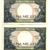ROMANIA 1000 1 000 LEI 20 MARTIE 1945 SERII CONSECUTIVE UNC