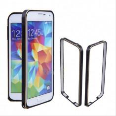 Bumper negru margine discreta aurie din aluminiu pentru Samsung S5 + folie cadou - Bumper Telefon, Samsung Galaxy S5
