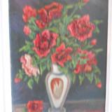 Tablou, An: 2000, Flori, Ulei - HOPCT PICTURA IN CUTIT ULEI PE LEMN -,, TRANDAFIRI ROSII,, SEMNAT IOANA IACOB 2000 SUPERB IN RELIEF !-D=42 / 31 CM CU RAMA ALBA [LEMN ]