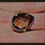 Imens!! inel argint 925 tip ghiul cu piatra mare cuart fumuriu pear fancy cut multifatetata!!!