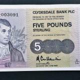 Scotia 5 Pounds Clydesdale Bank 1989 P#212d, Europa, An: 1989