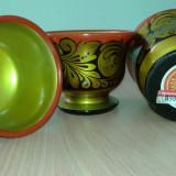 Căni Cupe Vechi de lemn pictate manual Made in USSR