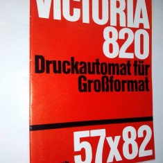 Pliant Polygraph Victoria, masina de printat format mare 57x82 anii '60 - Pliant Meniu Reclama tiparita