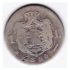 Monede Romania - Carol I 1 leu 1885 argint, moneda RARA