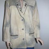 Haina de piele costum popular german / sacou piele costum tirolez masura 40 / 42 sau M/L - Costum populare, Culoare: Maro